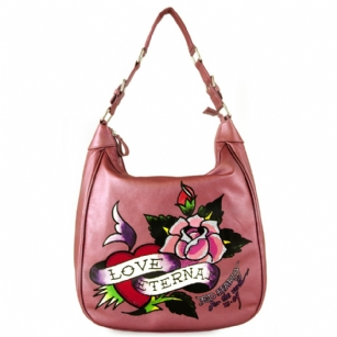 Ed Hardy Belinda Eternal Love Hobo Bag - Pink - The Ed Hardy�Belinda Eternal Love Hobo�Bag is part of the Ed Hardy�Winter Rose�Collection. It features�a zippered�closure on main-compartment,��Eternal Love logo on the front with Swarovski details.�Single shoulder strap.�Interior zippered pocket and open compartment for multipurpose use.