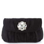 La Regale Soft Pleated Evening Bag  with Rhinestone Ornament- Black