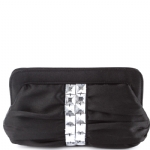 La Regale Pleated Stone Evening Bag- Black