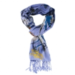 Christian Audigier 18x75 Feather Printed Scarf - Blue