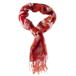 Christian Audigier 18x75 Flowers Fringe Scarf - Red