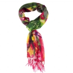 Christian Audigier 18x75 Flowers Fringe Scarf - Multi