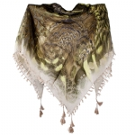 Christian Audigier Tiger Eye 40x40 Cotton Scarf - Cream