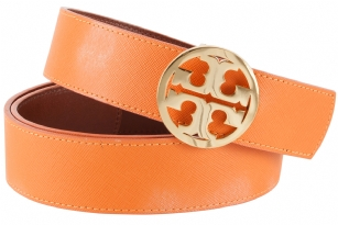 Tory Burch Classic Reversible Logo Belt-Orange/Luggage - The Tory Burch Classic Reversible Logo Belt pulls double duty with a different shade on each side. Remove the�Signature double-T Gold buckle�to switch Colors.