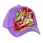 Ed Hardy Girls Dragon Rose Cap - Purple
