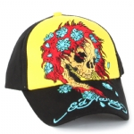 Ed Hardy Boys Skull Flower Cap - Black/Yellow