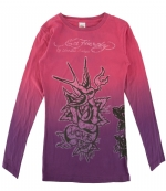 Ed Hardy Kids Girls Bird Long Sleeve T-Shirt - Pink