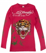 Ed Hardy Kids Girls Tiger Long Sleeve T-Shirt -Fuchsia