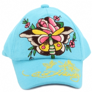 "Ed Hardy Baby Knit Butterfly Cap - Aqua - The Ed Hardy Baby�Butterfly Cap is an adorable cap for little one.�This cap features Butterfly tattoo graphics print.�It also has printed text graphics with the words ""Ed Hardy "". Your little angel will look like a rock star in this�precious knit cap!"