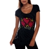 Ed Hardy Womens Specialty Three Heart Scoop Tunic Tee - Black