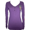 Ed Hardy Womens Peacock Hearts V-Neck Henley-Purple