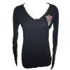 Ed Hardy Womens Mum V-Neck Henley-Black