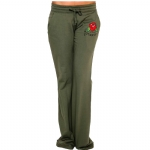 Ed Hardy Womens Basic Red Rose Drawstring Pants - Olive