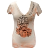 Ed Hardy Womens SS Ship Rose V-Neck Tee-Powder Pink