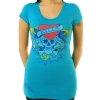 Ed Hardy Womens Love Kills Slowly SS Scoop Neck Tunic - Aqua