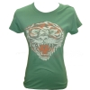Ed Hardy Womens  Basic New Tiger  Crew Neck T-Shirt-Sea Green