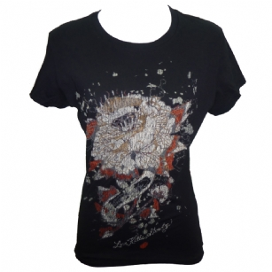 "Ed Hardy Womens  Basic  Crew Neck T-Shirt-Black - The Ed Hardy Womens  Basic  Crew Neck T-Shirt-Black is a quality T-shirt from Ed Hardy's Collection. This shirt features original ED Hardy graphics and shorts sleeves. It also has printed text with the words ""Ed Hardy"". A cute and multi-detailed Ed Hardy tee to pair with your favorite jeans."