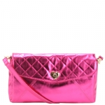 Betsey Johnson Quilted  Flap  Crossbody-Fushia
