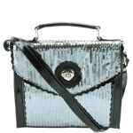 Betsey Johnson Scalloped Turnlock Crossbody- Pewter