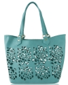 Big Buddha Ella Floral Perforated Tote With Case - Blue