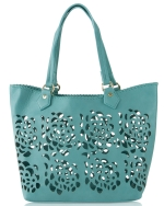 Big Buddha Ella Floral Perforated Tote - Blue