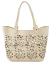 Big Buddha Ella Floral Perforated Tote With Case - Bone