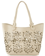 Big Buddha Ella Floral Perforated Tote - Bone