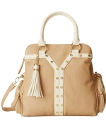 Big Buddha Demi Stud Triple Compartment Satchel Bag - Taupe