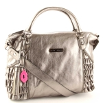 Betsey Johnson Ruffed Out Large Satchel- Pewter
