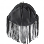 Betsey Johnson Fringe Pouch- Black