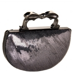Betsey Johnson Sequin Knuckle Clutch -Pewter