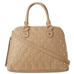 Betsey Johnson Skull Squad Dome Satchel-Taupe