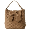 Betsey Johnson Will You Be Mine Bucket Bag-Tan