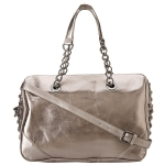 Betsey Johnson Heart Attack Satchel-Gunmetal