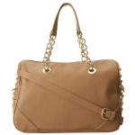 Betsey Johnson Heart Attack Satchel-Tan