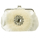 Betsey Johnson Something Blue Lace Crossbody Clutch-Cream