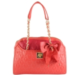 Betsey Johnson Be My Wonderful Dome Satchel-Red/Fuschia
