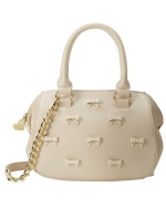 Betsey Johnson Little Bow Chic Crossbody Satchel Bag-Cream
