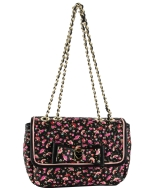 Betsey Johnson Be My Honey Buns Flapover Satchel Bag-Black Multi