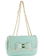 Betsey Johnson Be My Honey Buns Flapover Satchel Bag-Mint