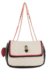 Betsey Johnson Be My Everything Flapover Satchel Bag-Cream
