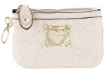 Betsey Johnson Be My Sweetheart Top Zip Small Wristlet - Cream