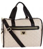 Betsey Johnson Quilted heart Weekender Bag - Bone