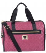 Betsey Johnson Quilted heart Weekender Bag - Raspberry