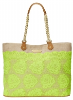 Betsey Johnson Lace Over Tote - Lime