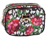 Betsey Johnson Roses Over Cheetah Cub Singular  Cosmetic Case - Multi