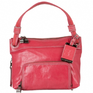 BCBG MaxAzria LAS443 Small Shoulder Tote - Raspberry - The BCBG MaxAzria LAS443 Small Shoulder Bag is a stylish handbag.�This fashionable BCBGMazazria purse is made of�high quality leather and is part of BCBG's upscale handbag collection.�This BCBG bag has been designed and is marketed by the BCBG.