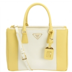 Prada BN2274 Tote  Handbag- Yellow/White