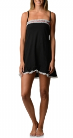 Bottoms Out Women's Jersey Lace Trim Chemise Nightie - Black