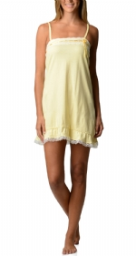Bottoms Out Women's Jersey Lace Trim Chemise Nightie - Lemon